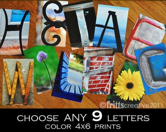 Alphabet Photography 4x6 Color  Individual Photo Letters ANY 9 LETTERS