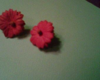 burnt orange paper flower earrings