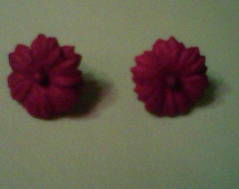 dark purple paper flower earrings