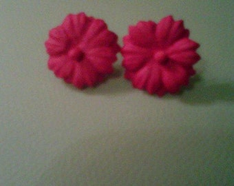 hot pink paper flower earrings