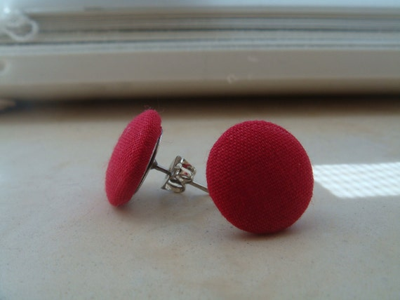 Red Fabric Earrings