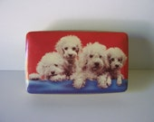 Vintage British Thornes toffee tin with white poodles