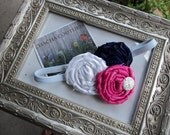 Gorgeous Posh  Couture Navy Pink White rosetti flower  Headband Baby & girls photograpy prop Bow Rosette