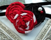Gorgeous Posh Couture MInnie Mouse Disney Red black pearl rosette flower  Headband Baby & girls photograpy prop Bow Rosette