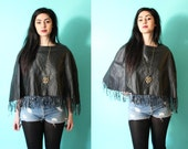 SALE // Vintage 80s Leather Fringe Cape / Festival Piece / Braided Grunge Poncho (OSFM)