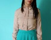 SALE // Vintage 70s Pale Pink Blouse / Pinstripes & Ruffles / Secretary (XS-S)