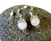 Rose Quartz Earrings, Rose Quartz, Silver, Pink Dangle Earrings