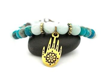 Henna Hand Bracelet, Amazonite, Aqua Jasper, Gold Charm Yoga Bracelet