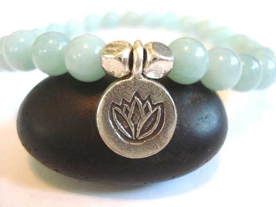 Lotus Flower Yoga Bracelet, Hill Tribe Silver and Amazonite