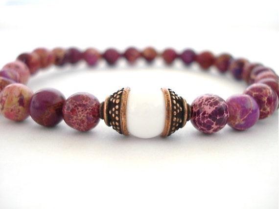 Meditation Bracelet, White Agate, Ruby Impression Jasper Beaded Bracelet