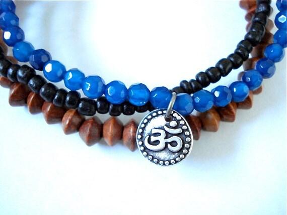 Ohm Charm Bracelet Set, Cobalt Agate, Silver, Wooden Mala Bead Yoga Bracelets