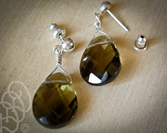 Smoky Quartz Tear Drop Earrings