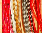 Red Highlights 5 Feather Hair Extension long with two crimp beads