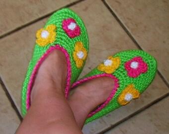 "Handmade Crochet slippers  ""Spring "" (pdf pattern) - sizes 0-6-12 month, 6-7-8-9-10 adult"