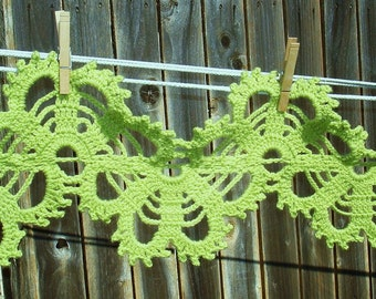 Hand-made Handcrochet Green  bruges lace  SCARF - PDF Crochet Pattern