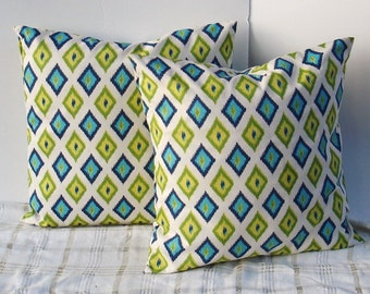 Decorative Pillow Covers--Designer Fabric-- 18x18- inches Blue, Lime, yellow, natural