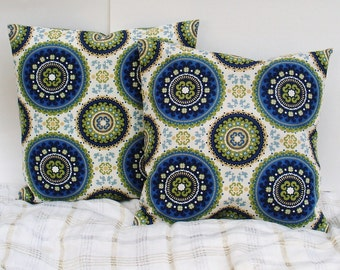 Rustic Medallion Decorative Pillow Cover, blue pillow cushion, throw pillow, couch pillow, pillow case, blue cushion cover
