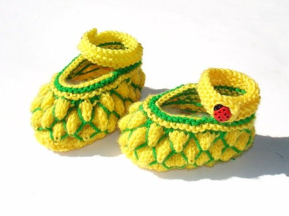 "Knit booties ""Pineapple heaven "" (pdf pattern)"
