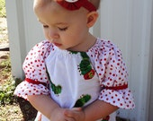 Olive Peasant Dress with Polka Dot Sleeves - Made From Very Hungry Caterpillar Fabric - Sizes 6 Months to 6 years