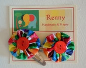 Pair of Dot Hair Clips from Very Hungry Caterpillar Fabric