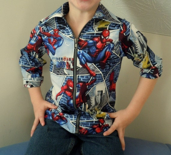 Boys Spider-Man Shirt with Separating Zipper - Sizes 1, 2, 3, 4, 5, 6, 7, 8