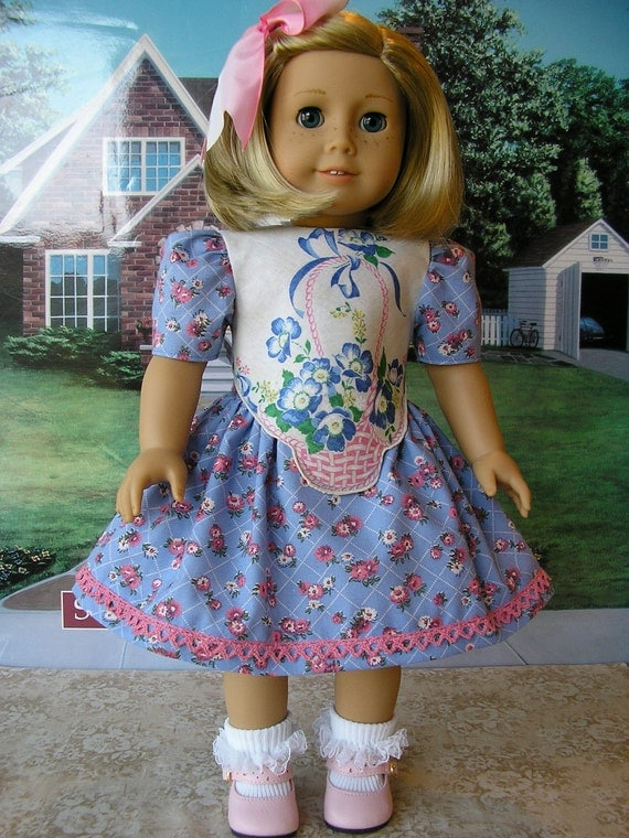 CLEARANCE PRICED - American Girl vintage hankie Spring Basket dress, plus ombre hairbow