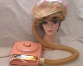 1960's Vintage PINK Sears & Roebuck Electric Bonnet Hair Dryer With Zip Case