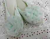 TiP ToE Mint Green 1960's Vanity Fair Peep Toe Slippers Satin Nylon