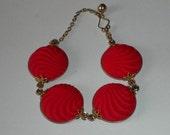 Vintage 1950's Red Bracelet Molded Glass Gold Filled
