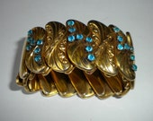 Reserved for Sherry 1940's Gold and Aqua Expansion Bracelet Bugbee & Niles