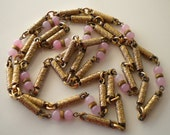 Vintage Czech Necklace 1930's Gold Gilt and Pink Satin Glass