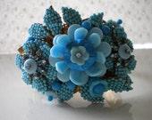Reserved for Miriam Stanley Hagler Turquoise Floral Hinged Bracelet Ian St. Gielar Vintage 60's