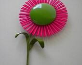 Vintage Mod 1960's Enamel Brooch Hot Pink Bright Green Flower