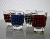 Vintage Barware Houndstooth Shot Glasses France