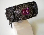 Antique Etched Silver Hinged Bangle Bracelet Red Paste Stones Etruscan Revival