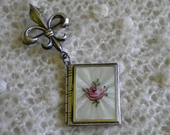 Vintage Sterling Fleur de lise Enamel Book Locket Pin