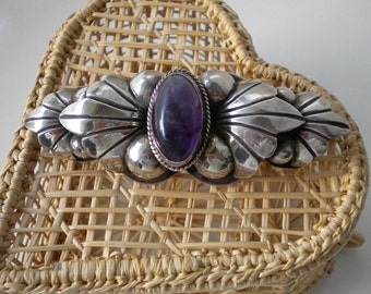 1940's Mexican Silver Amethyst  Brooch Large Collar Pin