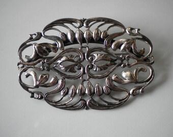 Vintage Napier Silver Brooch Art Nouveau Repousse Lillies 1960s 70s