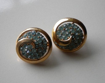 Vintage 50's Crown Trifari Earrings Aqua Gold Pave Swirls Spring Summer