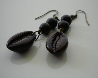Earthy Boho Brown Pierced Earrings 60s 70s