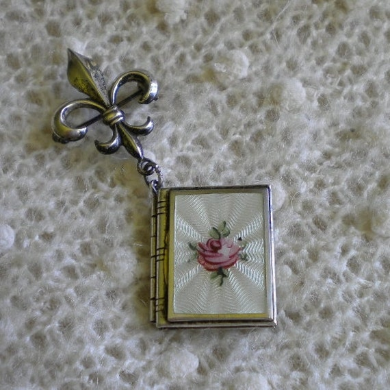 Vintage Sterling Fleur de lise Enamel Book Locket Pin