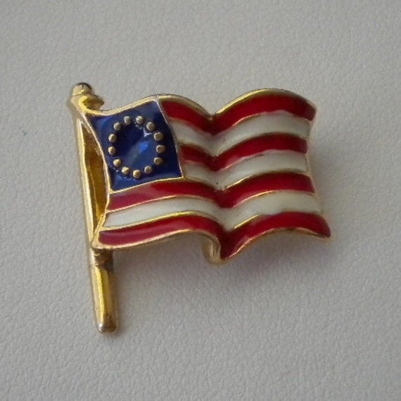 Vintage American Flag Commerative Enamel Pin by Ciner
