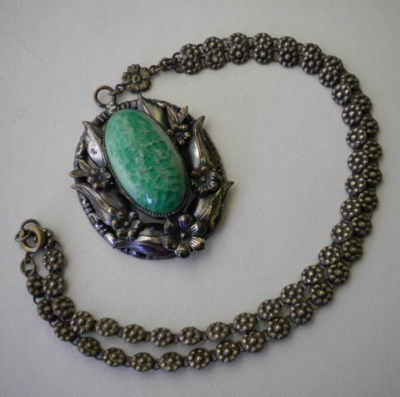 Reserved for Thunkinduncan 1920's Czech Necklace Silver Peking Glass Floral