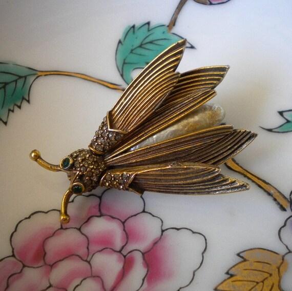 Vintage Bee Brooch Pauline Rader Rhinestone Baroque Pearl Bug Tremblant