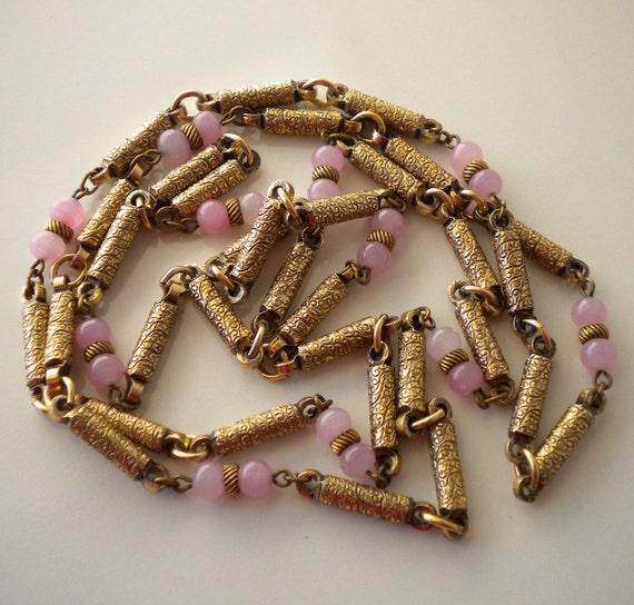 Vintage Czech Necklace 1930's Gold Gilt and Pink Satin Glass