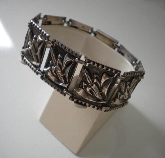 Vintage Sterling Silver Bracelet Corn Motif 1930's