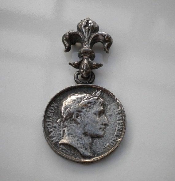 Vintage Silver Coin Brooch Fleur de lise Napolean 1950s signed LIDZ