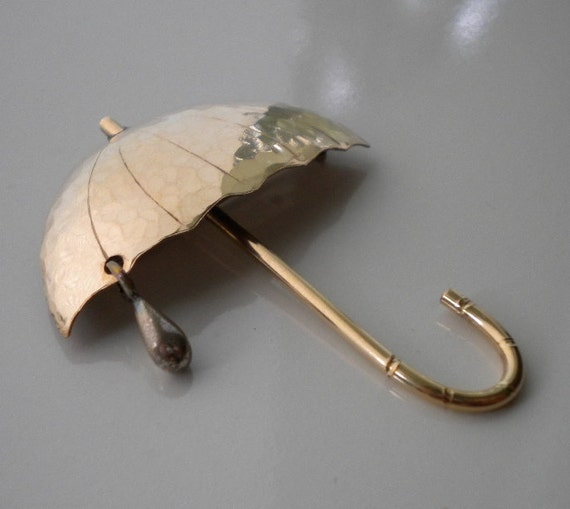 April Showers Bring May Flowers Vintage Umbrella Pin Gold Silver Raindrop