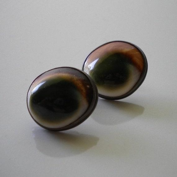 Vintage Operculum Shell Earrings Sterling 1930's
