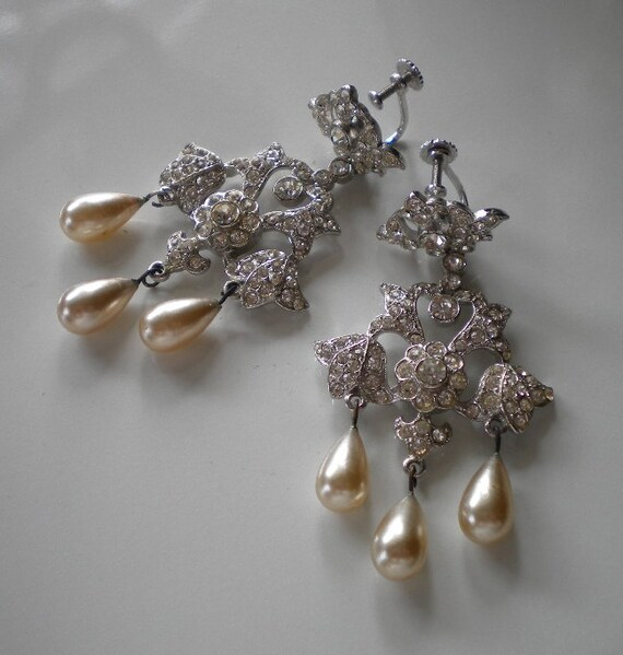 Vintage Bridal Rhinestone and Pearl Earrings 1940's Silver Chandelier Drops
